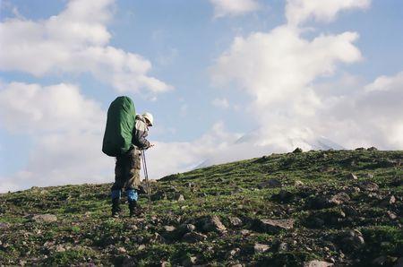 orienting: Trekking in Kamchatka, Russia Stock Photo