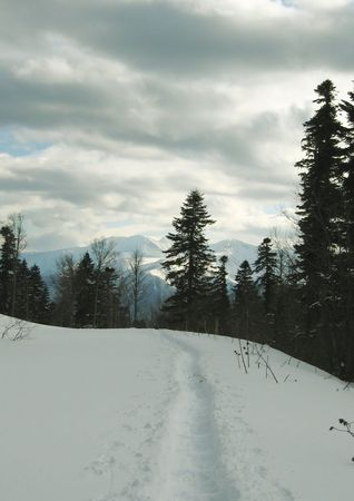 trailway: trailway in snow on mountains Caucasus