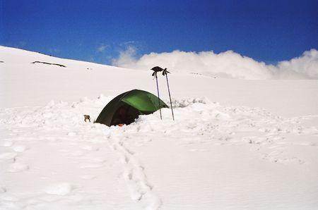 Camp in volkano Klushevskaja in summer Stock Photo - 400840