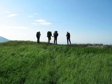 crimea: Four tourists in trekking on the Crimea