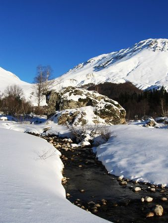 woodscape: Winter mountain and river