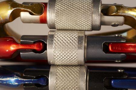 carabiner: Three colorful carabiner Stock Photo