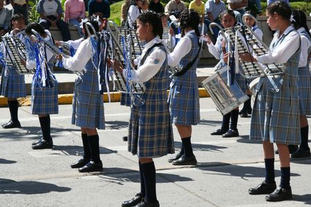 marching band: School parade in the Peru Stock Photo
