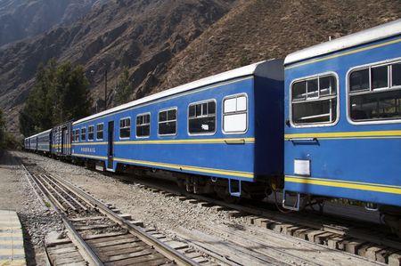 cuzco: Blue train in the Nachu-Picchu city,Peru