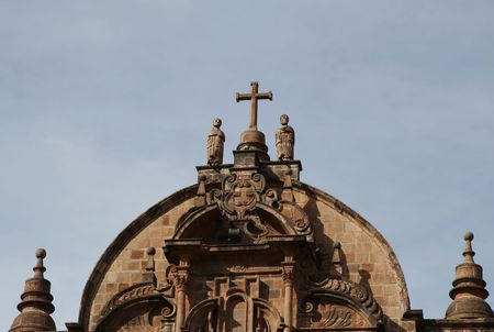 plaza of arms: Beautiful cathedral on the Plaza de Arms,Cuzco Stock Photo