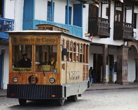 tramcar: Old tram-car in the city Cuzco,Peru