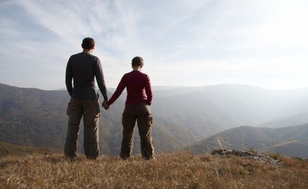 Girl and boy on the hill Stock Photo - 592224
