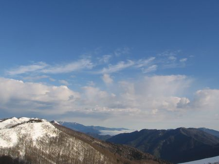 Snowcovered winter mountain photo