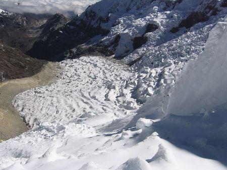 alpamayo: Bid glacier on the Alpamayo mountain