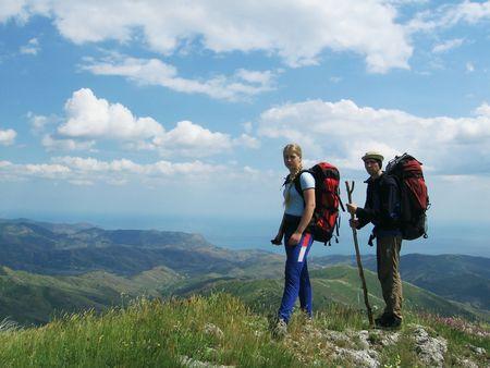 crimea: Girl and boy in Crimea trekking Stock Photo