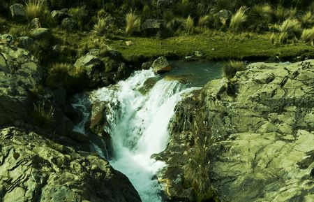 Waterfall on mountain river in Peru Stock Photo - 655176