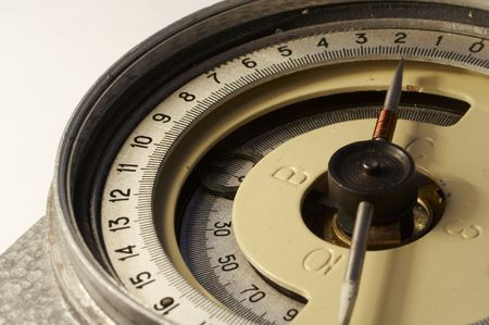 orienting: Old mining compass Stock Photo