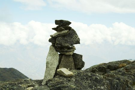 rout: Stones on the rout in Cordilleras mountain Stock Photo