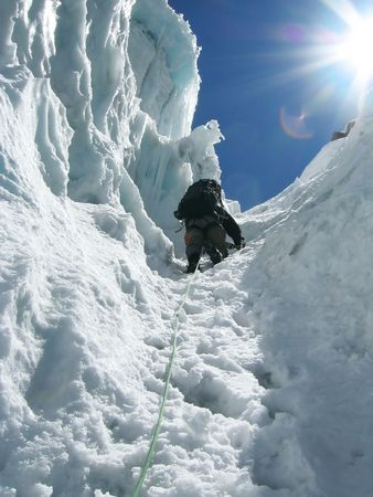 grandeur: Climber the climb on glacier