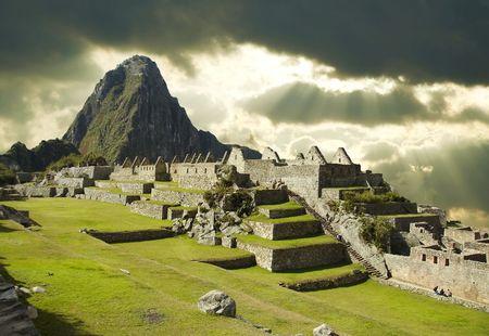 Tormenta tiempo en la ciudad de Machu-Picchu