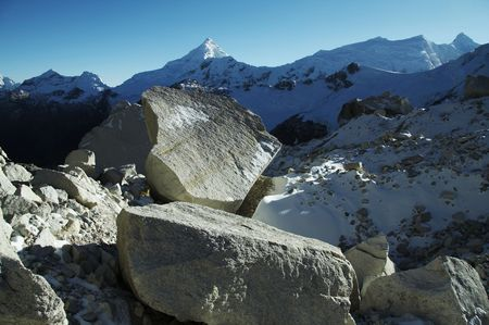 Big stones on the glacier in Cordilleras photo