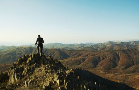 backpackers: Trekking in the Crimea Stock Photo