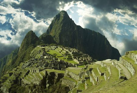 peru architecture: Panorama on the city Machu-Picchu,Peru Stock Photo