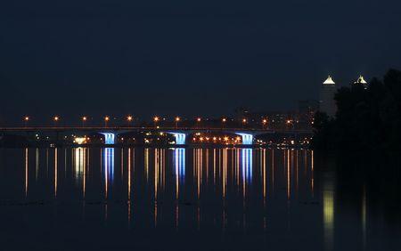 dnepr: Ligt bridge on Dnepr river for night