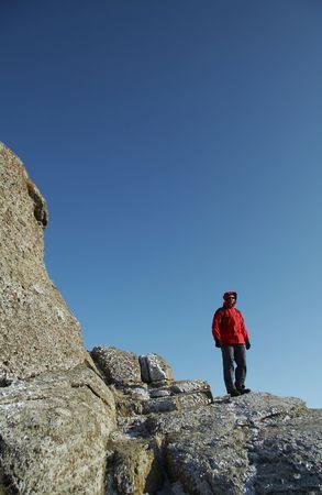 crimea:  men on the rock in Crimea mountain