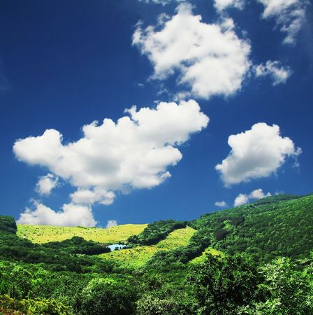 Colorful fields - Landscape green grass,lake, blue sky and white clouds Stock Photo - 713481