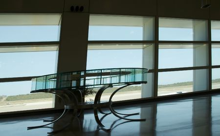 eople silhouette in the waiting lounge in airport photo