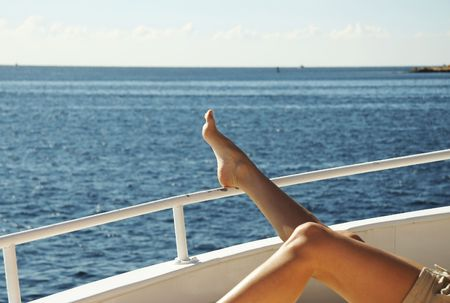 Pelaxing woman on the yacht in sea Stock Photo - 738873