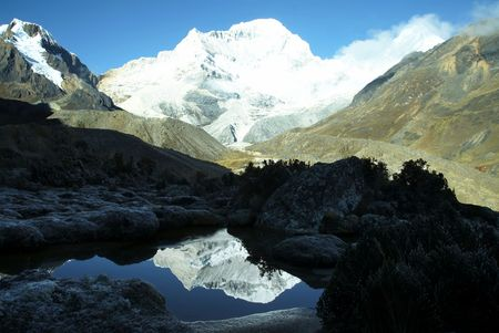 Peak Santa Cruz in mountain Cordilleras ,Peru photo