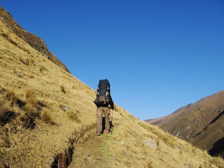 Mountaineer on the trail photo