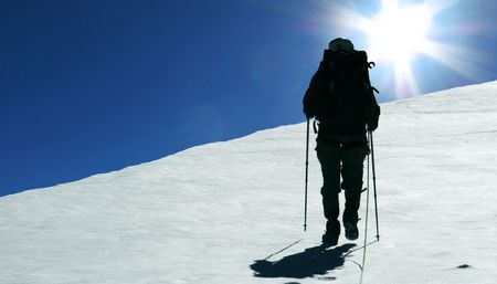 The climb in the Cordillera mountain photo