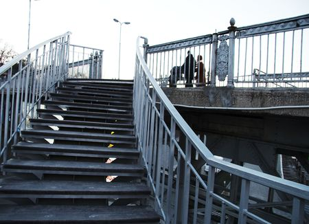 People going up along bridge Stock Photo - 793963