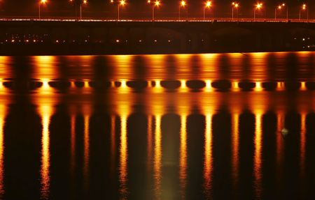 dnepr: Ligt bridge on Dnepr river for night