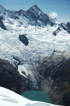 High mountain and lake in Cordilleras photo