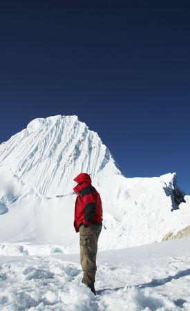 alpamayo: Mountaineer looking on Alpamayo peak Stock Photo