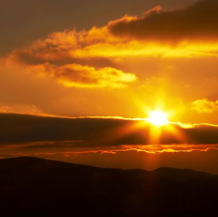 Sunrise in mountain photo