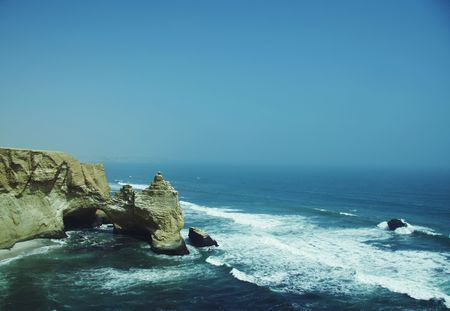 Cliff in the Paracas park in Peru photo