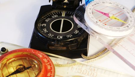 orienting: Three colorful compasses