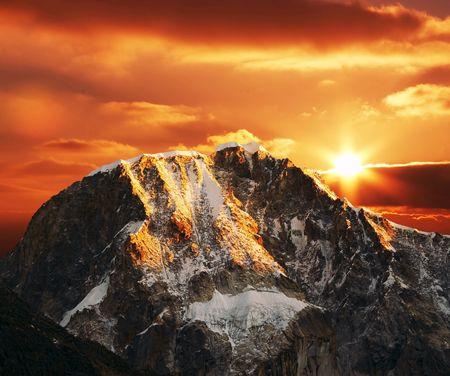 Beautiful sunset in Cordilleras mountain photo