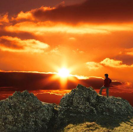 exultation: Girl silhouette on sunset Stock Photo