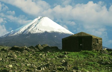 frigid: Volcano Kluchevskaya peak in Kamchatka Stock Photo