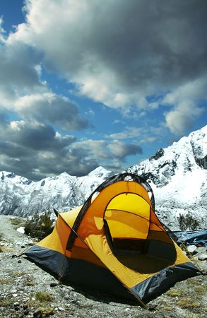 Yellow tent in the mountain Stock Photo - 836717