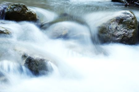 Water cascade on river photo