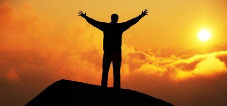exuberant: Happy man silhouette
