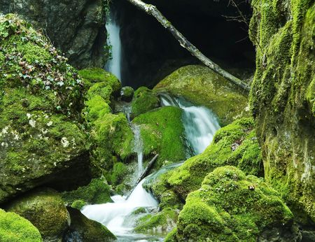 Waterfall group in the green stone Stock Photo - 867054