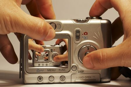 customer records: Doubling cameras LCD  Stock Photo