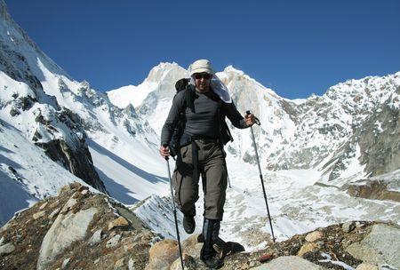 shivling: Climber going in Himalayans mountain