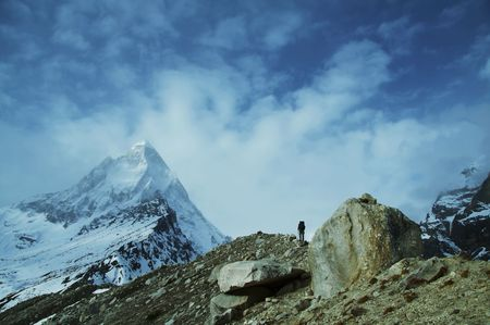 shivling: Climber on Shivling peak background
