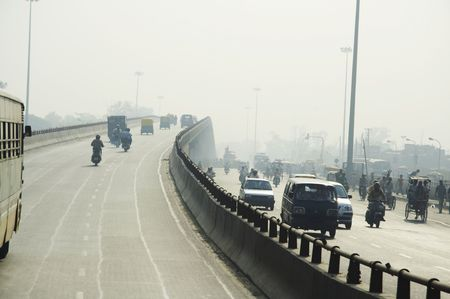 slowdown: Bridge in New Delhi Stock Photo