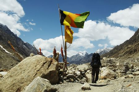 sacred source: Hiker going along worshipplace by source of Ganga Stock Photo