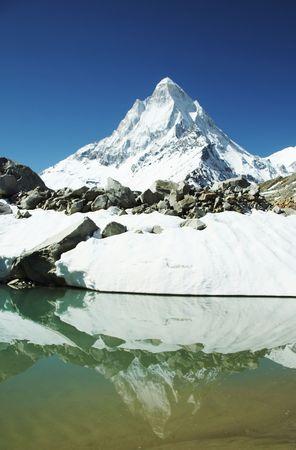 shivling: Shivling peak reflection in blue lake